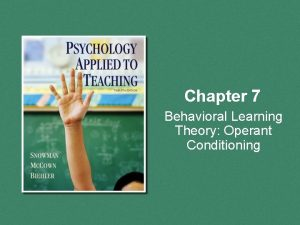 Chapter 7 Behavioral Learning Theory Operant Conditioning Overview