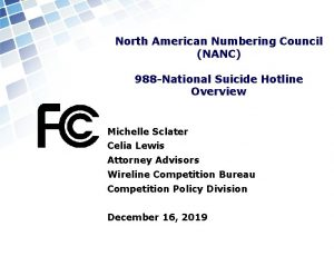 North American Numbering Council NANC 988 National Suicide