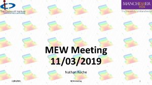 MEW Meeting 11032019 Nathan Roche 12032021 MEW meeting