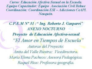 Curso Educacin Afectiva Sexual en la Escuela Equipo
