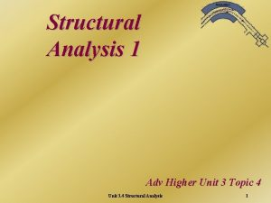 Structural Analysis 1 Adv Higher Unit 3 Topic