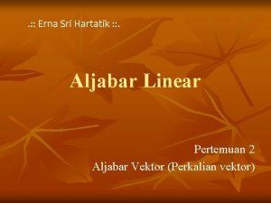 Erna Sri Hartatik Aljabar Linear Pertemuan 2 Aljabar