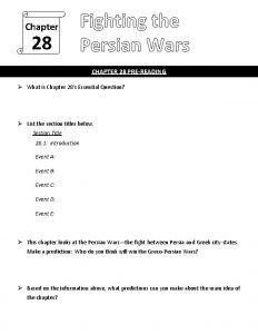 Chapter 28 Fighting the Persian Wars CHAPTER 28