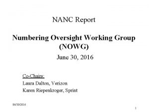NANC Report Numbering Oversight Working Group NOWG June