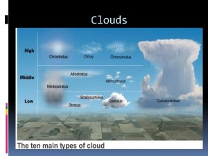 Clouds Low Altitude Clouds Form below 2000 meters