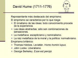David Hume 1711 1776 Representante ms destacado del