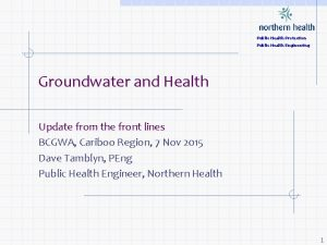 Public Health Protection Public Health Engineering Groundwater and