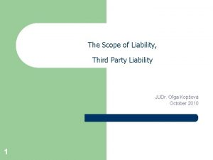 The Scope of Liability Third Party Liability JUDr
