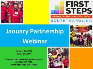 January Partnership Webinar January 27 2015 10 00