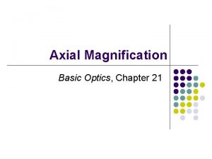 Axial Magnification Basic Optics Chapter 21 2 Axial