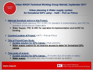 Urban WASH Technical Working Group Nairobi September 2017