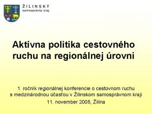 Aktvna politika cestovnho ruchu na regionlnej rovni 1