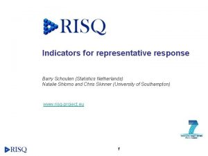 Indicators for representative response Barry Schouten Statistics Netherlands