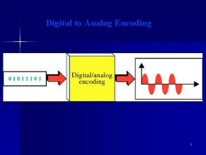 Digital to Analog Encoding 1 2 Digital modulation