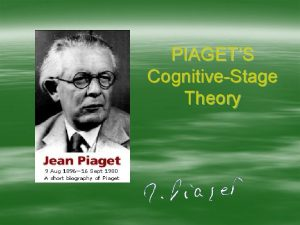 PIAGETS CognitiveStage Theory Biographical Sketch Jean Piaget lahir