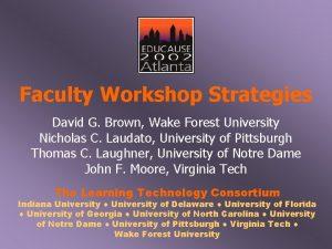 Faculty Workshop Strategies David G Brown Wake Forest