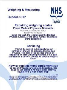 Weighing Measuring Dundee CHP Repairing weighing scales Phone