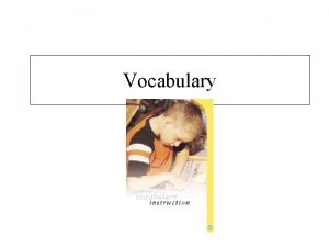 Vocabulary Why is developing students vocabulary knowledge important