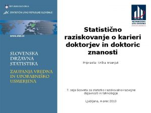 Statistino raziskovanje o karieri doktorjev in doktoric znanosti