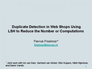 Duplicate Detection in Web Shops Using LSH to