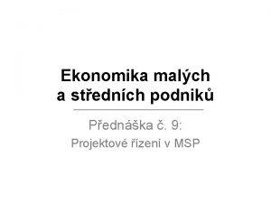 Ekonomika malch a stednch podnik Pednka 9 Projektov