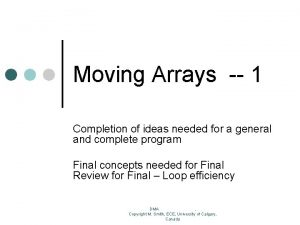 Moving Arrays 1 Completion of ideas needed for