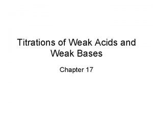 Titrations of Weak Acids and Weak Bases Chapter