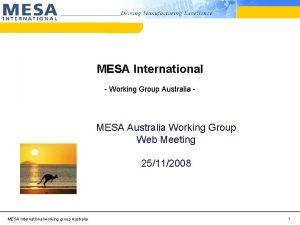 MESA International Working Group Australia MESA Australia Working