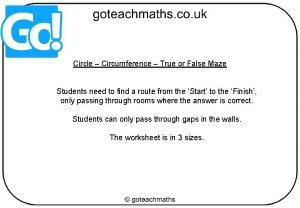 Circle Circumference True or False Maze Students need