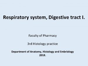 Respiratory system Digestive tract I Faculty of Pharmacy