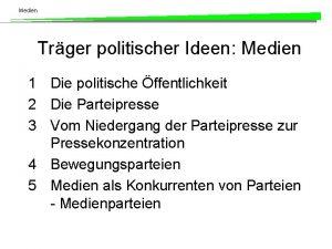 Medien Trger politischer Ideen Medien 1 Die politische