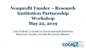 Nonprofit Funder Research Institution Partnership Workshop May 22
