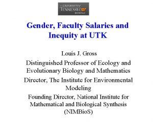 Gender Faculty Salaries and Inequity at UTK Louis