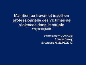 Maintien au travail et insertion professionnelle des victimes