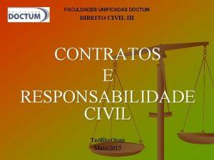 FACULDADES UNIFICADAS DOCTUM DIREITO CIVIL III CONTRATOS E