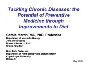 Tackling Chronic Diseases the Potential of Preventive Medicine