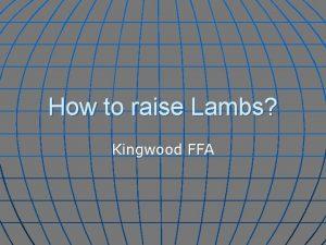 How to raise Lambs Kingwood FFA What do