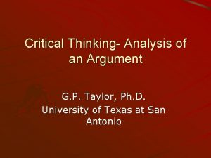 Critical Thinking Analysis of an Argument G P
