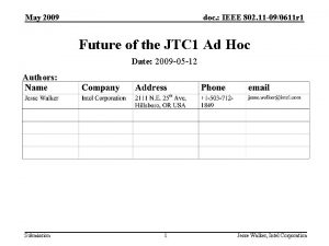 May 2009 doc IEEE 802 11 090611 r