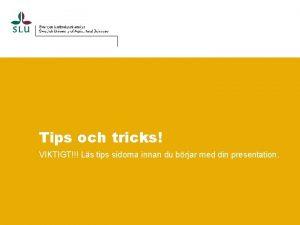 Tips och tricks VIKTIGT Ls tips sidorna innan