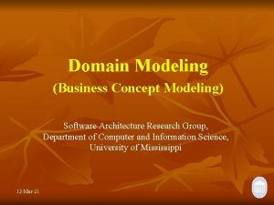 Domain Modeling Business Concept Modeling Software Architecture Research
