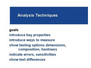 Analysis Techniques goals introduce key properties introduce ways