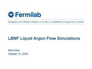 LBNF Liquid Argon Flow Simulations Erik Voirin October