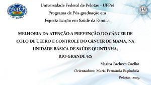 Universidade Federal de Pelotas UFPel Programa de Psgraduao