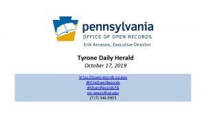 Erik Arneson Executive Director Tyrone Daily Herald October