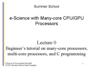 Summer School eScience with Manycore CPUGPU Processors Lecture