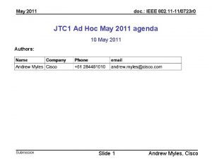 May 2011 doc IEEE 802 11 110723 r