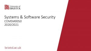 Systems Software Security COMSM 0050 20202021 Hostbased intrusion
