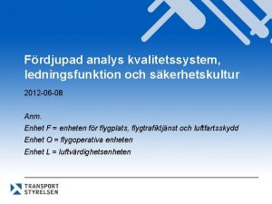 Frdjupad analys kvalitetssystem ledningsfunktion och skerhetskultur 2012 06