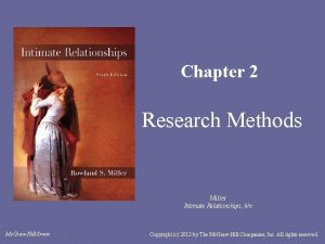 Chapter 2 Research Methods Miller Intimate Relationships 6e
